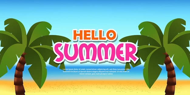 Hello summer banner with  tropical beach with 3d coconut tree palm