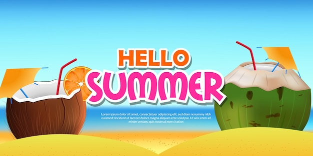 Hello summer banner with  tropical beach with 3d realistic coconut drink