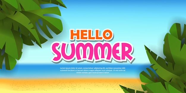 Hello summer banner with  tropical beach with green tropical leaves