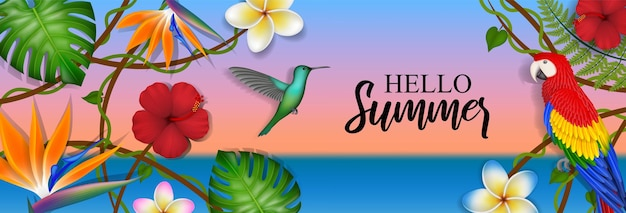 Hello summer banner with tropical flowers leaves and birds