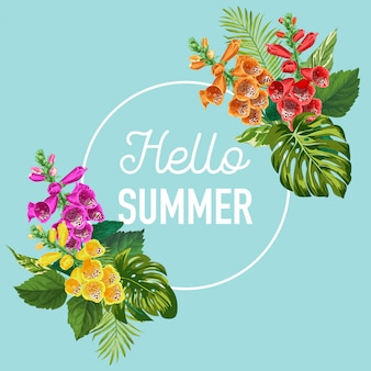 Hello summer banner with tropical flowers