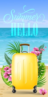 Hello summer banner with tropical leaves, pink flowers, yellow travel case