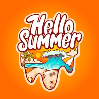 Hello summer beach illustration