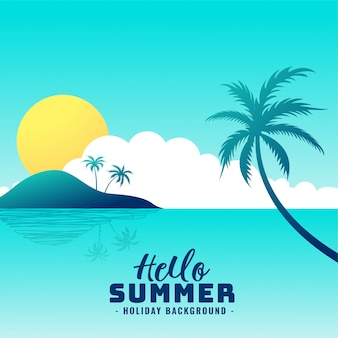 Hello summer beach paradise holiday background