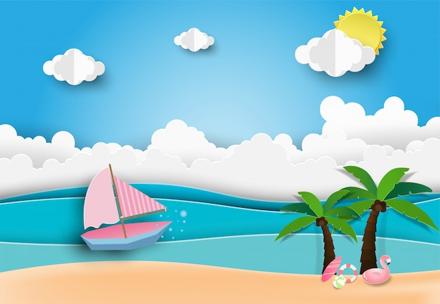 Hello summer beach party, paper art style.