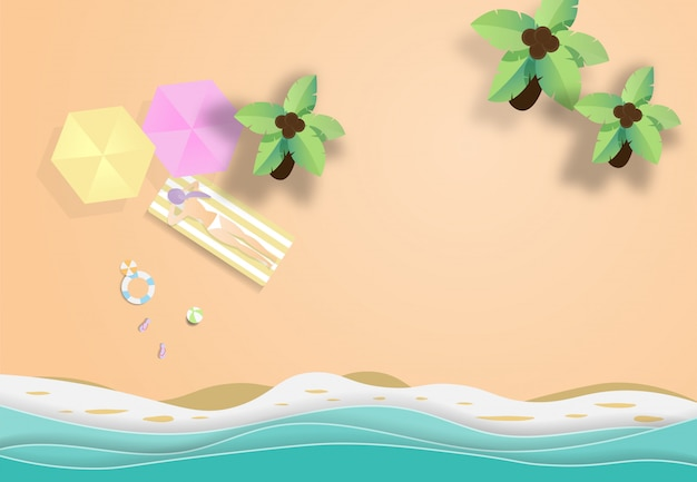 Hello summer beach vector background.