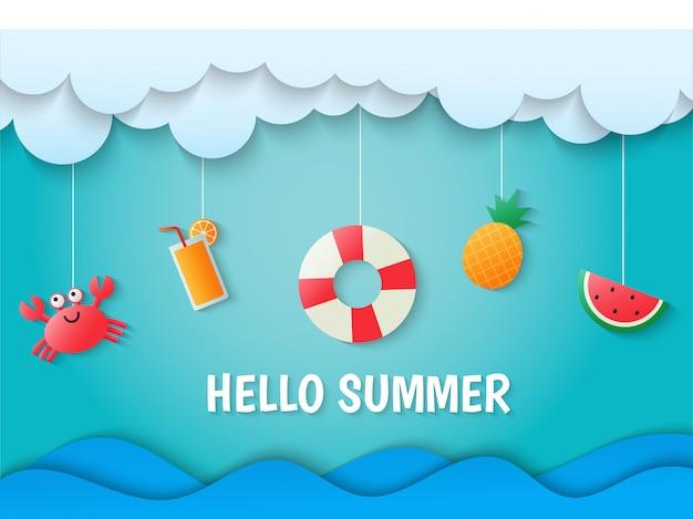 Hello summer on blue sky background. paper art style. Premium Vector