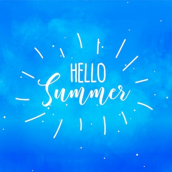 Hello summer blue watercolor background