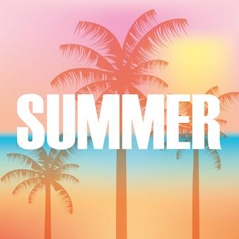 Hello summer blur background colors palms