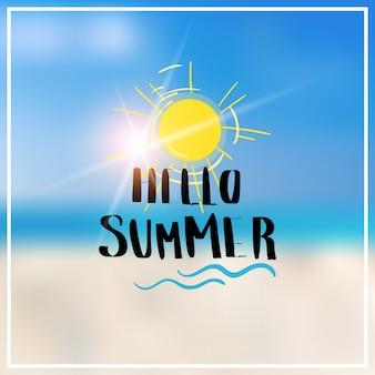 Hello summer blurred sea bokeh beach