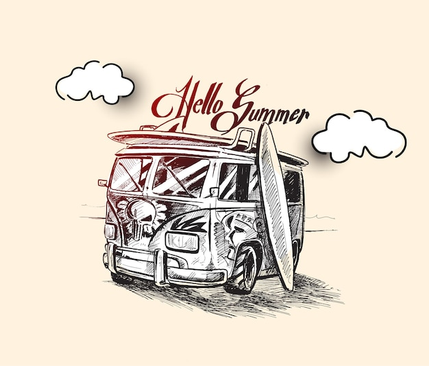 Hello summer bus with surfboard hand drawn sketch vector illustration