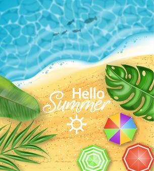 Hello summer card beach card