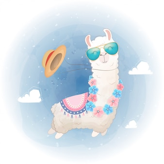 Hello summer card. cute llama design floating in the sky.