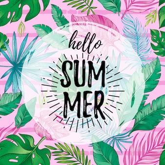 Hello summer card poster with text, tropic leaf seamless pattern.