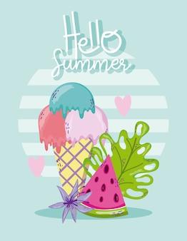 Привет, летняя открытка с милыми мультфильмами