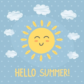 Hello summer card with a cute sun.
