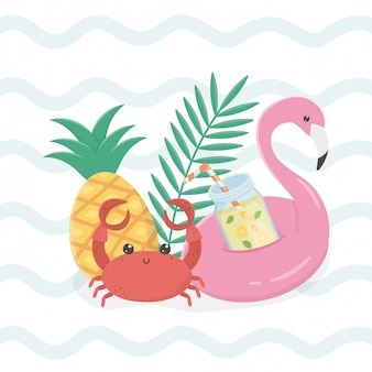 Hello summer card with flemish float icons