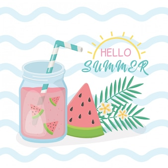 Hello summer card with fresh cocktail
