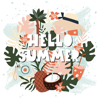 Hello summer card with fruits.