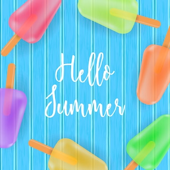 Hello summer card with ice cream on blue wooden background