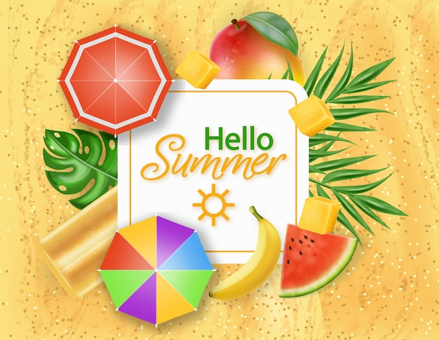 Hello summer card with ice cream