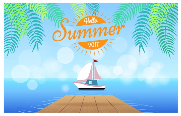 Hello summer card with tropics illustration