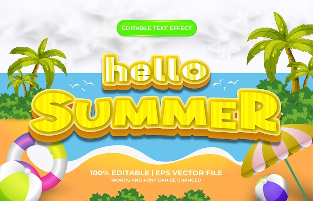 Hello summer cartoon 3d editable text effect template style