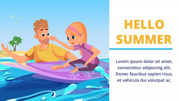 Hello summer cartoon man with girl on surfboard