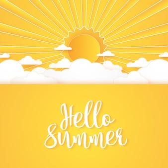 Hello summer, cloudscape, 밝은 구름 하늘과 태양, 글자, 종이 예술 스타일