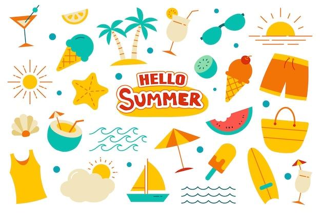 こんにちは夏コレクションセットフラットデザイン。夏のシンボルとカラフルなオブジェクト。
