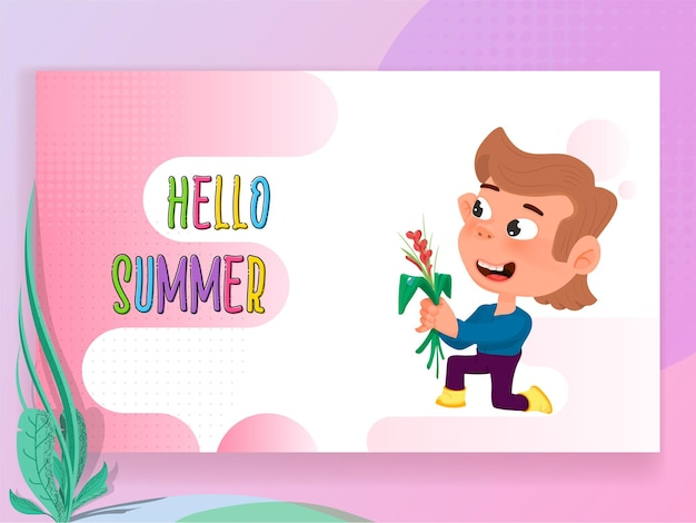 Hello summer colorful festive banner with cartoon character
