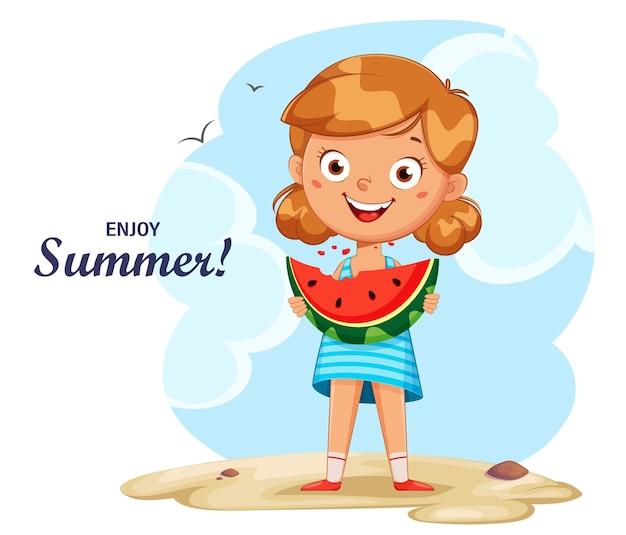こんにちは夏のコンセプトスイカを食べるかわいい女の子の漫画のキャラクター