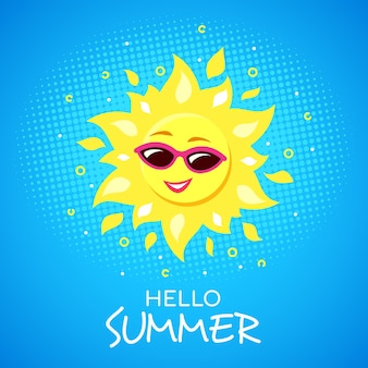 Hello summer concept with funky smiling sun character wearing sunglasses.