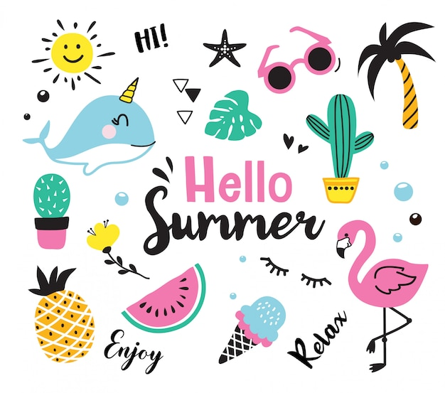 Hello summer cute hand drown doodle symbol collection