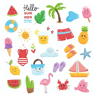 Hello summer cute kawaii collection set with beach theme pastel color.