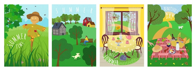 Hello summer cute vector poster set. outdoor picnic on grass, scarecrow in agricultural field, dog walking in countryside park, vacation in nature and village rest banners. summertime hand drawn cards