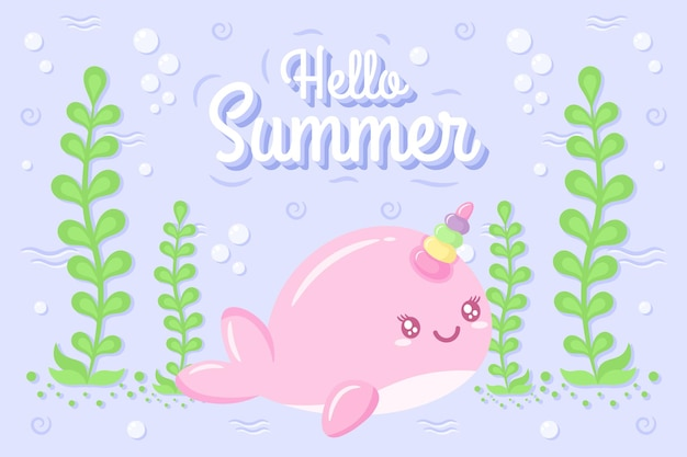 Привет лето милый рисунок кита под водой