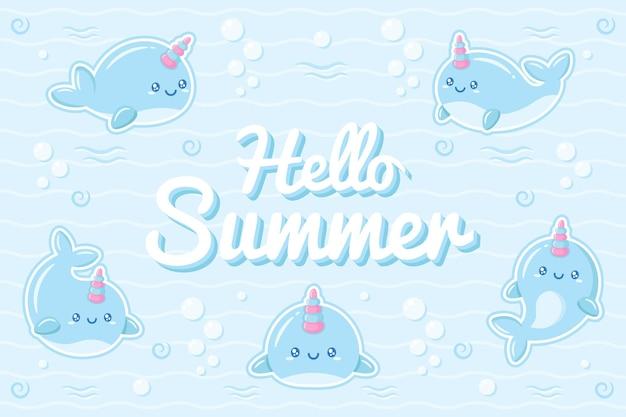 안녕하세요 여름 귀여운 고래 물 아래 그리기