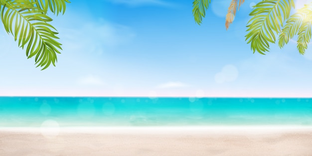 Hello summer design vacation concept. poster landscape seashore resort view with beach