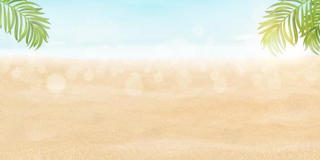 こんにちは夏のデザインの休暇の概念。ビーチとポスター風景海岸リゾートビュー