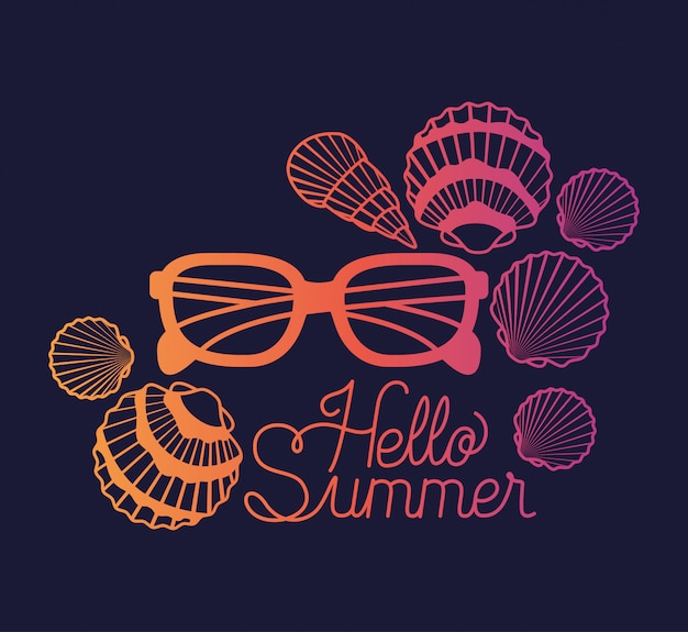 Hello summer design with shells and sunglasses