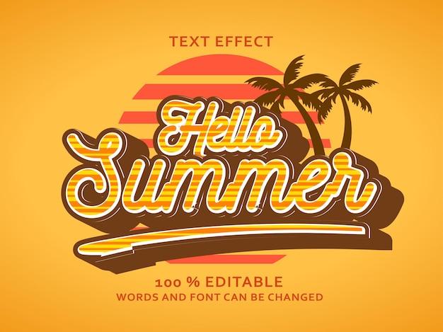 안녕하세요 여름 편집 가능한 텍스트 효과