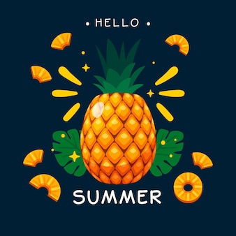Hello summer flat design with pineapple