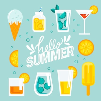 Привет лето плоский дизайн