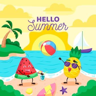 Hello summer in flat design