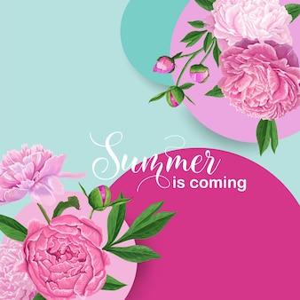 Здравствуйте, летний цветочный дизайн с розовыми цветами пиона. ботанический фон для плаката, баннера, свадебного приглашения, поздравительной открытки. векторная иллюстрация