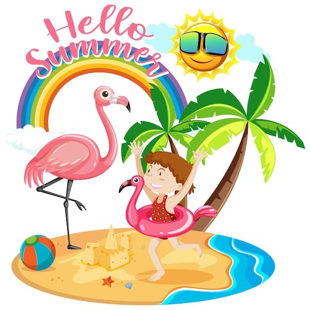 Шрифт hello summer с девушкой и изолированными пляжными предметами