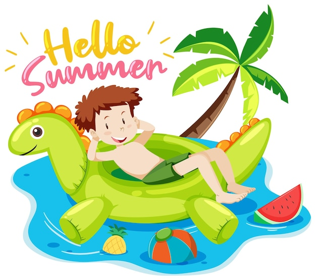 Hello summer font with a boy and beach items isolated