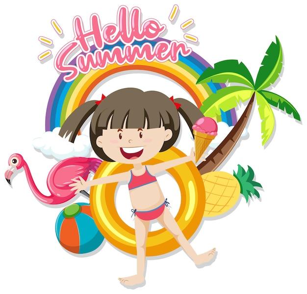 Hello summer font con una ragazza e articoli da spiaggia isolati