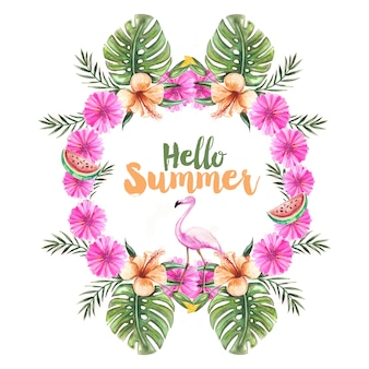 Hello summer frame with watercolor style